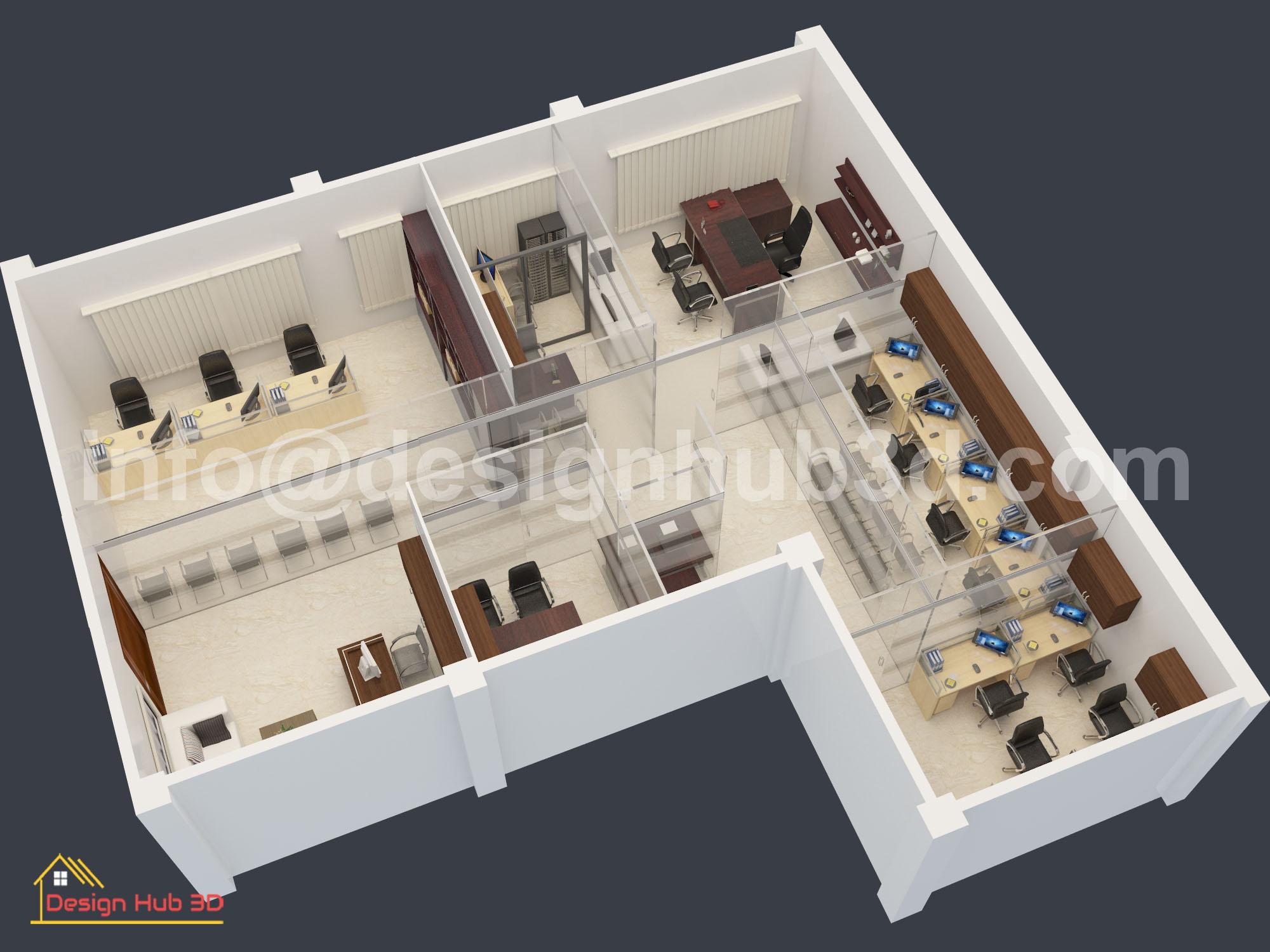 DesignHub 3D-Office Decor, Office Interior, Interior Design, Corporate Hub Design, Corporate Office Interior, Top View