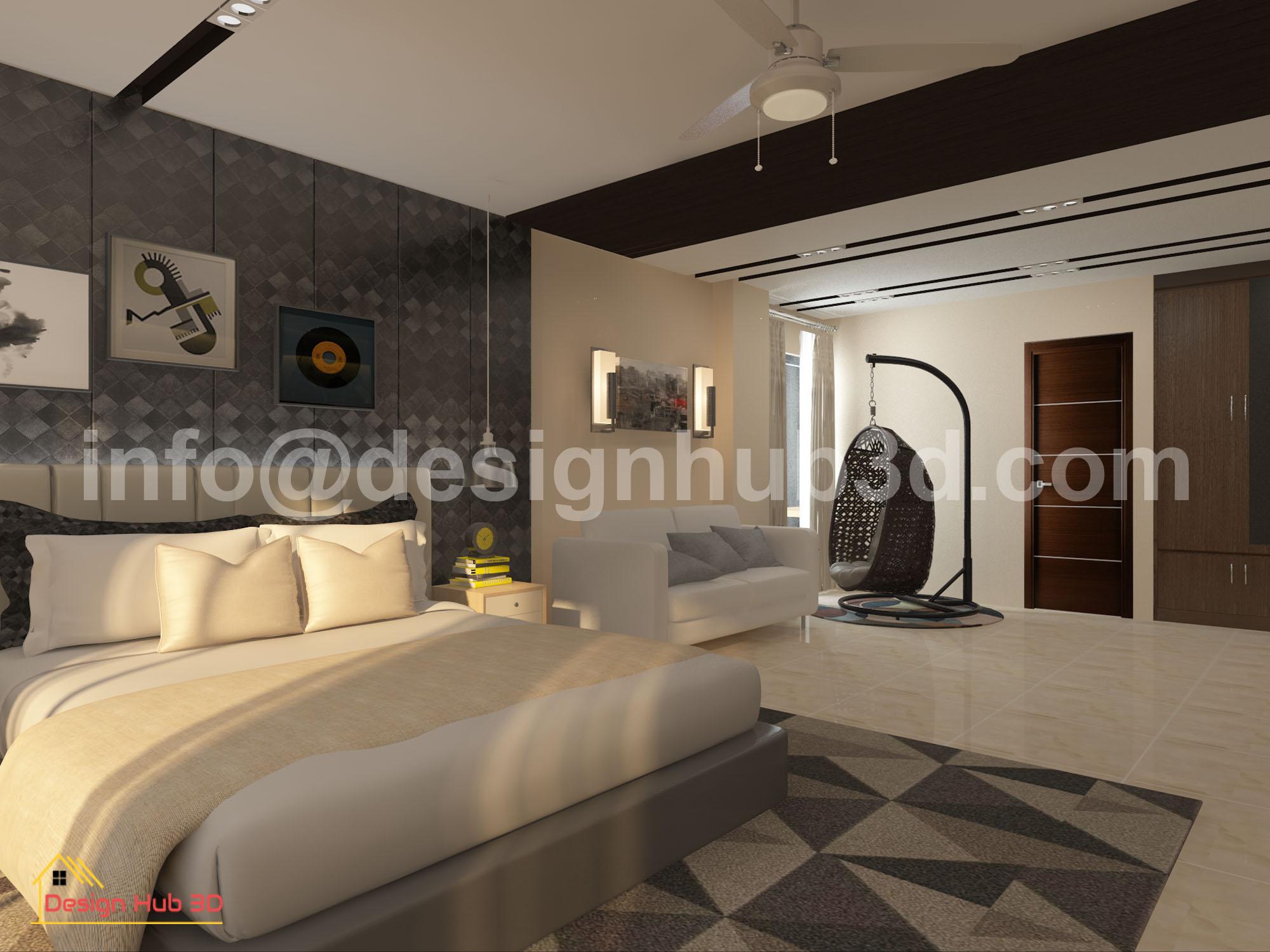 Design Hub 3D - Master Bed interior design